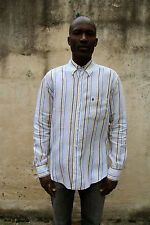 Conte of Florence Casual Shirt Striped Multi Linen Long Sleeved M Linen FLax VGC