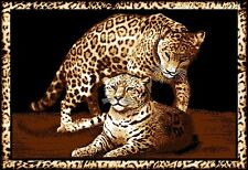 "Leopard Family Area Rug 4x6 African Border Carpet New - Actual 3' 7"" x 5' 3"""