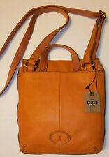 NWT FOSSIL LEATHER ORANGE SMALL TATE FLAP CROSS BODY w/ADJUSTABLE STRAP