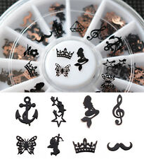 Beauty  3D Metal Christmas Nail Art Decoration Slice Black Stickers  Foil Wheel