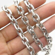950 Sterling Silver Signed Thick Heavy Cable Chain Necklace 22""
