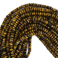"6mm faceted tiger eye rondelle beads 15.5"" strand"