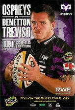 Ospreys V Bennetton TREVISO MAGNERS LEAGUE 10 SEP 2010 LIBERTY RUGBY programma