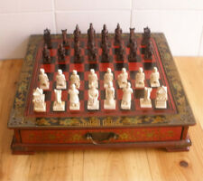 China Army Style 32 Pieces Chess Set & Leather Wood Box Flower Bird Table