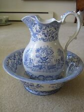 "SPODE, LARGE BLUE ITALIAN ""WILLOW"" PITCHER AND BOWL"