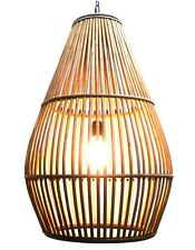 Bamboo Rattan Wood &Steel Basket Chandelier 1950's Retro Danish Style