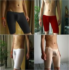 Brand New Men's Sexy Tight Translucent Silklike Half Long Underwear X1PC
