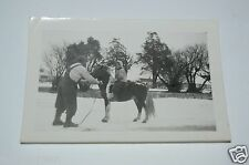 WOW Vintage 1940s Child on Pony in the Snow Black & White Photo Photograph Rare