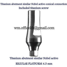 Dental implant Titanium abutment conical connection similar Nobel active RP 4.3