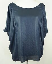 BCBG Medium Navy Shimmer Off Cold Shoulder Women's Top Kimono Sleeve Boho D38