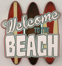 WELCOME TO THE BEACH SURF BOARD KID GAME ROOM WOODEN WALL PLAQUE SIGN