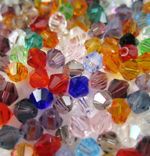 Jewelry making 100pcs 4mm #5301 colorful Bicone glass crystal beads MIX NEW A32