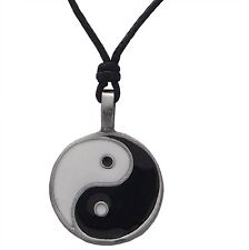 Pewter YIN and YANG Enamelled Pendant Adjustable Black Cord Necklace Nickel Free