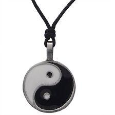 Estaño Yin y Yang Esmaltado Colgante Collar de cordón negro ajustable libre de níquel