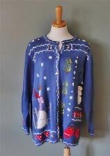 Ugly Christmas Sweater Women 1X Men XL busy 2 side Snowmen Quacker Factory CS21