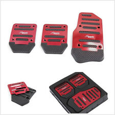 Manual 3 x Car Aluminium Nonslip Brake Clutch Pedal Cover Set Foot Treadle Red