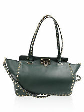 "Valentino Dark Green Leather Gold Studs ""Rockstud"" Crossbody/Satchel Handbag"
