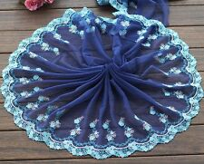"2 Yards Lace Trim Blue Tulle Exquisite Embroidery Wedding Bride 9.44"" width"