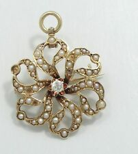 Antique 14K Yellow Gold Seed Pearl Flower Diamond Brooch Pendant E1139
