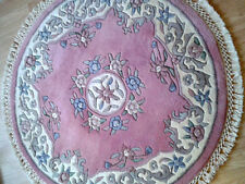 Brand NEW 100% Wool Indian Rug ROUND 4X4 120 CM X120CM  PINK Rose Floral