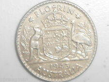 1943 Australian Silver TWO Shilling Florin (TWO BOB) KING GEORGE VI  (very Nice)