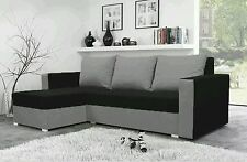 corner sofa bed black Grey  fabric sleeping option living room storage