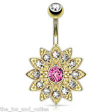 Paved Gems Flower Belly Ring 14kt Gold Plated Pink CZ Pierced Navel (w1192)