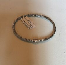 CHARRIOL Classique SS Diamond 18K Yellow Gold Cable Bangle Bracelet New with Tag