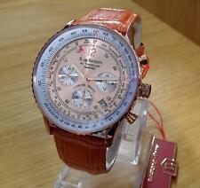 Para Hombre Krug-Baumen aire viajero Pilotos Reloj con Cronógrafo Rosa-Dorado de Cobre 400704 Nuevo Y En Caja