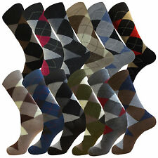 12 Pair Argyle Diamond Men Women Dress Socks Cotton Blend Multi Color Size 9-11