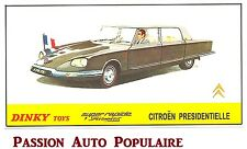 DINKY TOYS 1435 reproduction copie panneau magasin CITROEN DS PRESIDENTIELLE