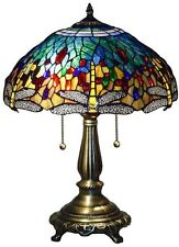 Tiffany Table Lamp Blue Dragonfly 25 in. Bronze Handcrafted Stained Glass Shades