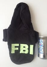 Chihuahua Size (XSmall) FBI Black Hoodie Top Jumper Pet Dog Clothes UK seller