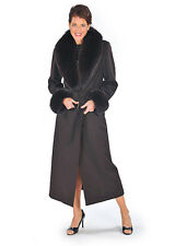 Womens 100% Cashmere Coat Long Plus Size Real Fox Fur Collar & Cuffs Dark Brown