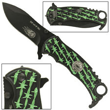 RUN OUT OF HELL SPRING ASSIST POCKET KNIFE GREEN BARB WIRE TWO BLADE LOCKS SKULL