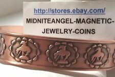 COWBOYS ON HORSES RODEO COPPER MENS CUFF BANGLE MAGNETIC BRACELET PRO ARTHRITIS