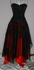 Womens NEW Long Black Red PIXIE skirt 24 26 XL goth steampunk gypsy fairy wicca