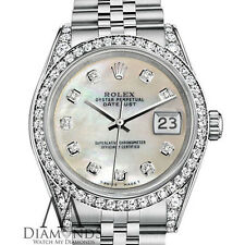 Ladies Rolex Datejust 26mm Steel White MOP Mother Of Pearl Diamond Dial Watch