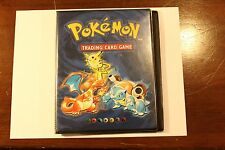 Pokemon Original 1999 Base Set Blue Binder Pikachu Charizard Blastoise 4 pocket