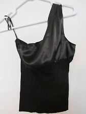 New Women's MSSP Max Studio One-Shoulder Sexy Black Tank Top Size XS Satin/Knit