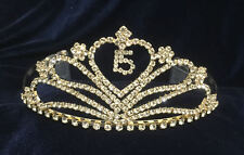 Gold-Rhinestones Tiara Sweet 15 Quinceanera w/Combs.Gold Tiara . 2.5 Inches Tall