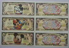 Disneyland 2008 Mickey Mouse 80th $1 $5 $10 Disney Dollar Matched Set A00000905