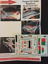 DECALS 1/43 PEUGEOT 207 S2000 BRUNO MAGALHAES RALLYE MONTE CARLO 2011 RALLY WRC