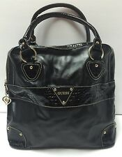 Guess Large Black Tote Handbag Purse W/ Crocodile Print Stripe Gold Heart Zipper