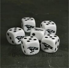 NEW Set of 6 Black Raven D6 Game Dice Six Sided RPG D&D