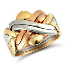 Hallmarked 9ct 3 Colour Gold 6 Piece Puzzle Ring