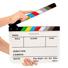 Pro Acrylic Clapboard TV Movie Video Film Action Clapperboard Slate Clap NEW