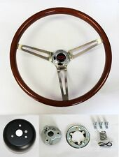 "1967-1968 Chevelle El Camino Wood Steering Wheel High Gloss 15"" Red/Black"