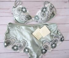 La Perla Green Bra 34 And Panty Size 6 Set Made in Italy New With Tags