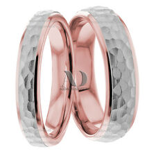 Solid 10K White & Rose Gold His and Her Hammered Wedding Ring Set 7mm & 5mm